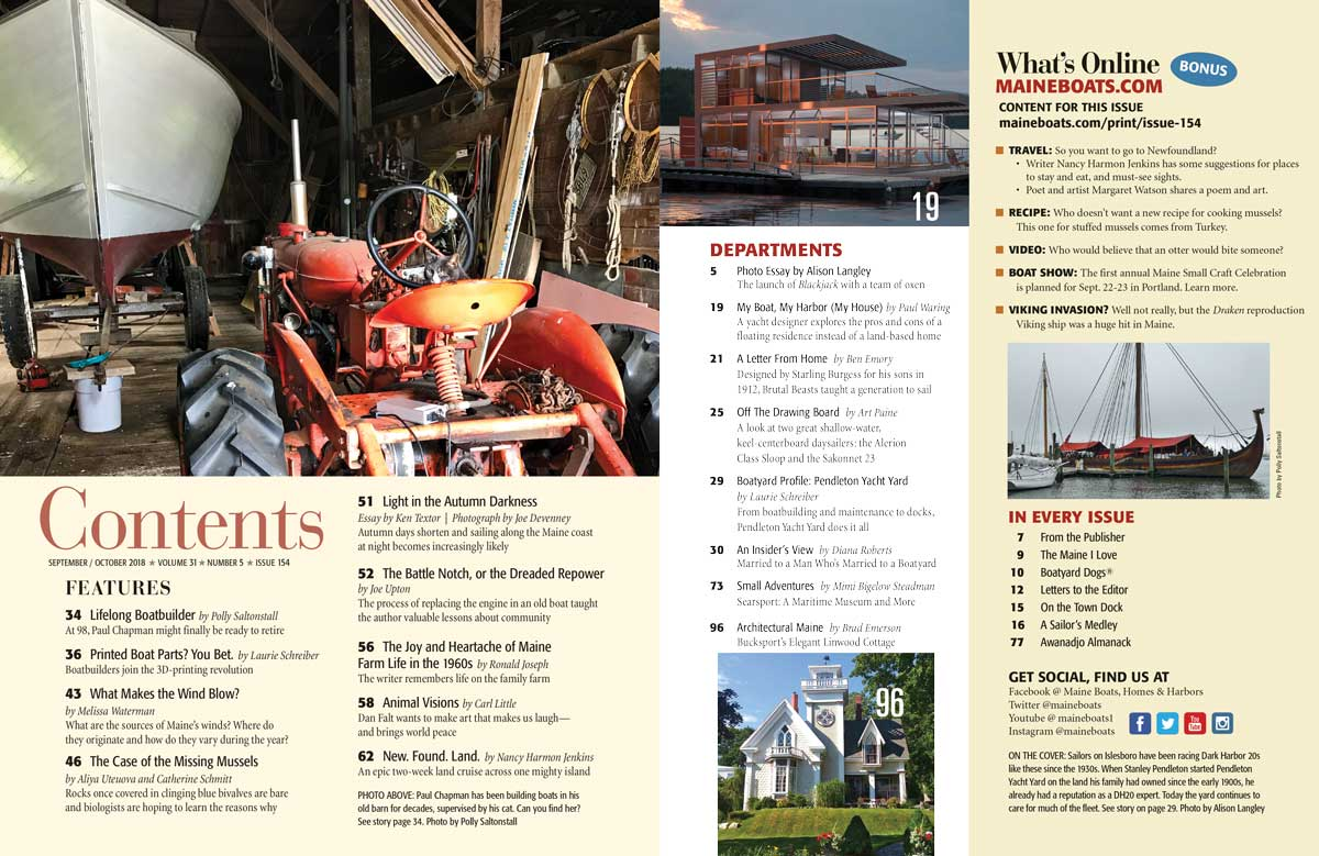 Issue 154 Table of Contents   Maine Boats Homes & Harbors