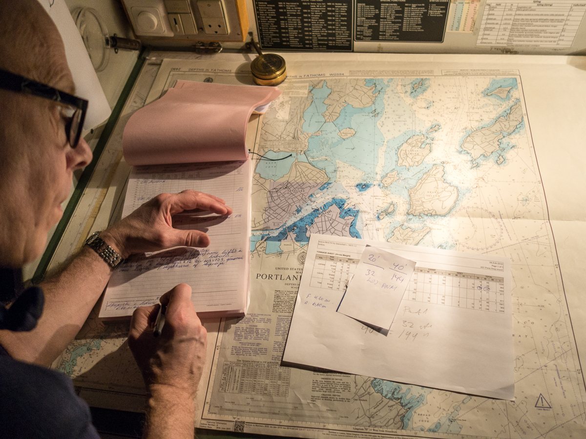 Shipping news maine boats homes harbors chief officer einar gudmundsson logs the departure of selfoss from portland harbor the crew uses electronic aids to navigations but charts still play a nvjuhfo Images