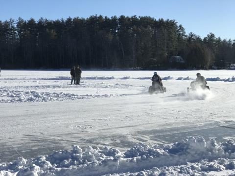 Winter fun: Lawn Mower Racing