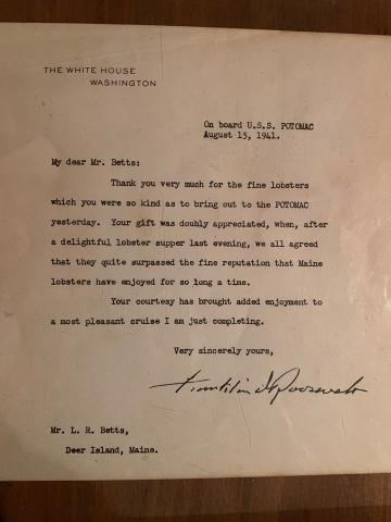 President Franklin Roosevelt and the lobster dinner provided by a Deer Isle fisherman