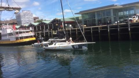 Class 40 yacht on its way to race final leg in 2016 Atlantic Cup