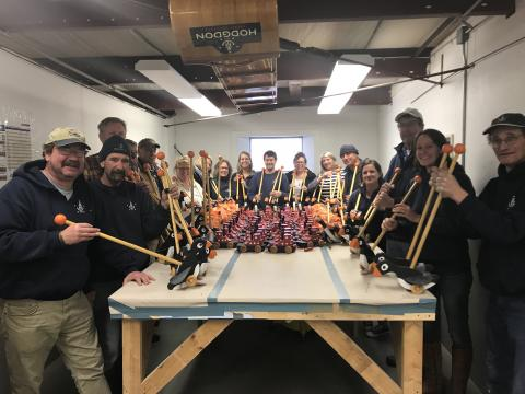 Hodgdon Yacht employees make 150 wooden toys for local children