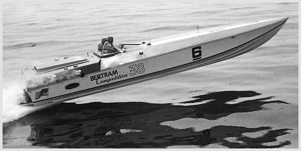 Bertram 38 Racing One of Hunt's champion offshore racing machines.