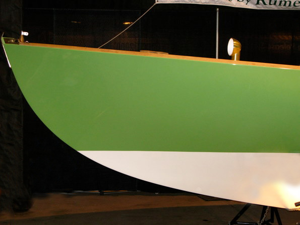 Green boat bow