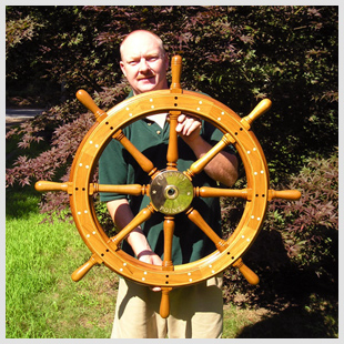 South Shore Boatworks' Bob Fuller: building traditional steering wheels like this is a specialty.